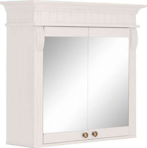 Przepiękna sosnowa szafka z lustrem, biała