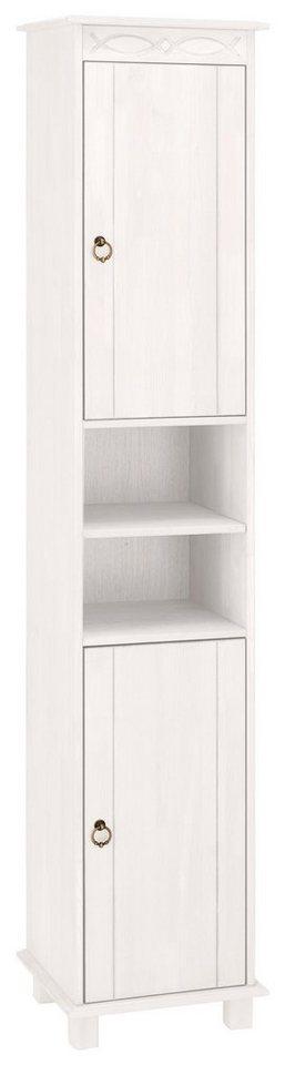 Wysoka szafka łazienkowa, słupek, biała, sosnowa
