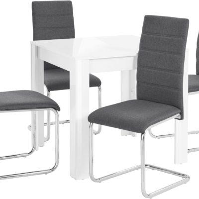 Zestaw: biały stół w połysku i 4 antracytowe krzesła na płozach