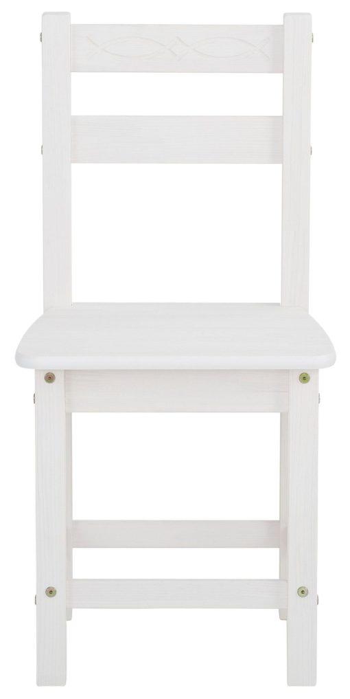 Sosnowy zestaw stół i cztery krzesła, zestaw biały