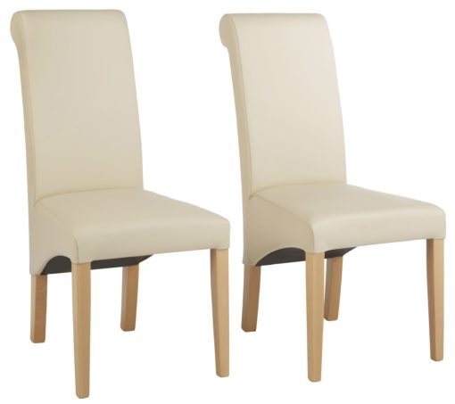 Krzesła beżowe, ekoskóra, lite drewno bukowe 2 sztuki