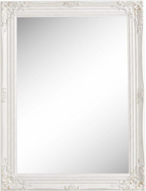 Lustro w pięknej, białej ramie stylizowanej na antyk