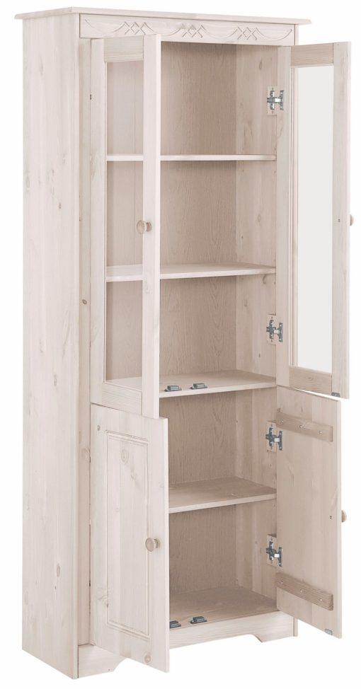 Drewniana witryna z dużą ilością miejsca do przechowywania
