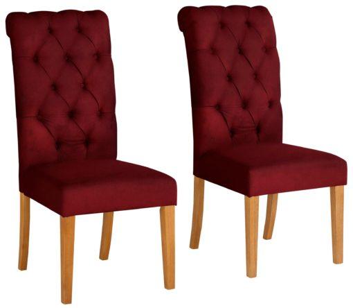 Eleganckie, bordowe krzesła z pikowaniem i kołatką z tyłu, aksamit