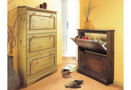 Sosnowa szafka na buty w stylu rustykalnym, 2 klapy
