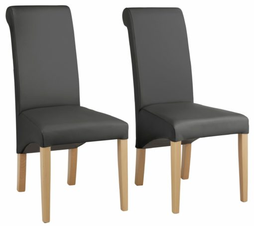 Eleganckie krzesła, sztuczna skóra, drewno bukowe - 4 sztuki