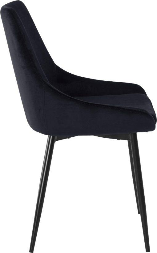 Tapicerowane, czarne krzesła o wyrafinowanym designie - 4 sztuki