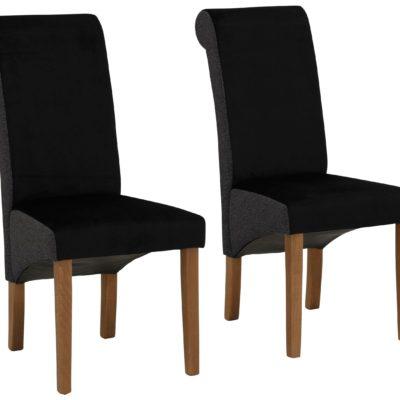 Nowoczesne, czarne krzesła, dębowe nogi - zestaw 2 sztuki