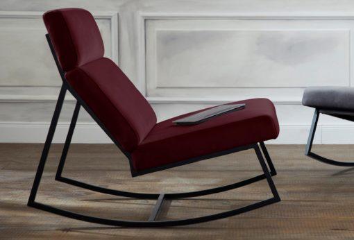 Designerski i szalenie wygodny fotel bujany, bordowy