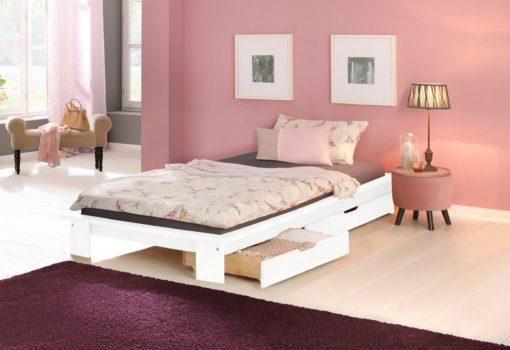 Proste, białe łóżko 90x200 cm typu futon