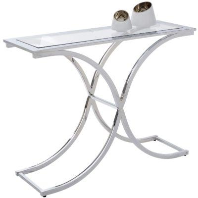 Stolik/ konsola, chromowana srebrna rama i szklany blat