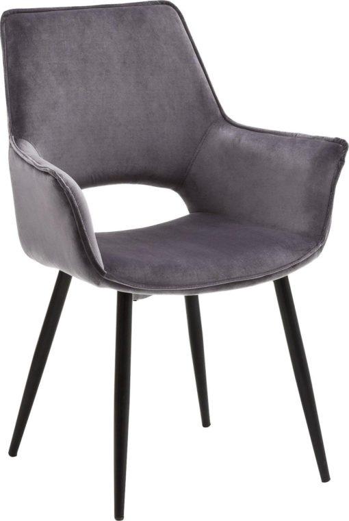 Atrakcyjne, szare krzesła z podłokietnikami - 2 sztuki
