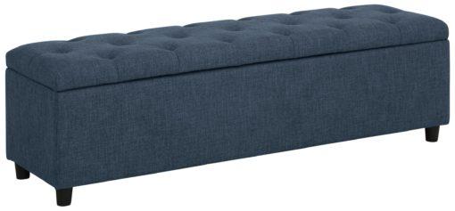 Tapicerowana ławka ze schowkiem i siedziskiem, niebieska