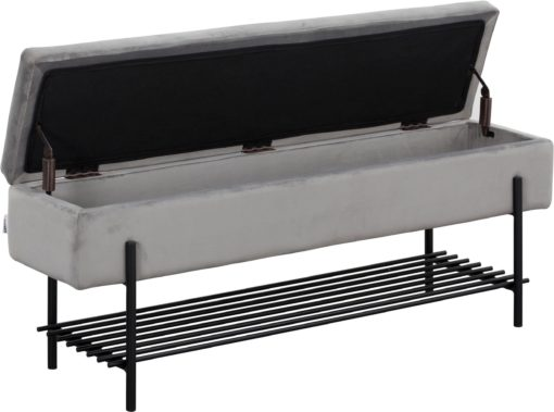 Tapicerowana ławka ze schowkiem i półką, szara, 120 cm