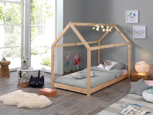 Sosnowe łóżko z konstrukcją dachu 90x200 cm