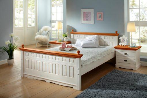 Urocza szafka nocna z dwiema szufladami, z drewna sosnowego