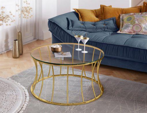 Okragły stolik ze złota podstawą, w stylu glamour