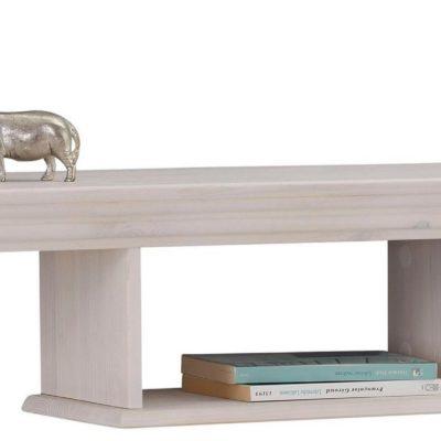Sosnowa, dwupoziomowa półka w kolorze białym, 120 cm