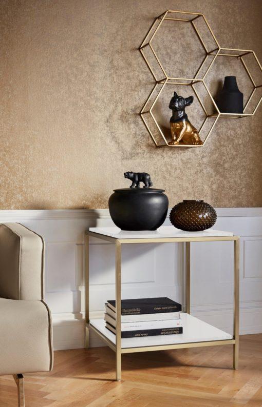 Nowoczesny stolik/ konsola ze złotą ramą