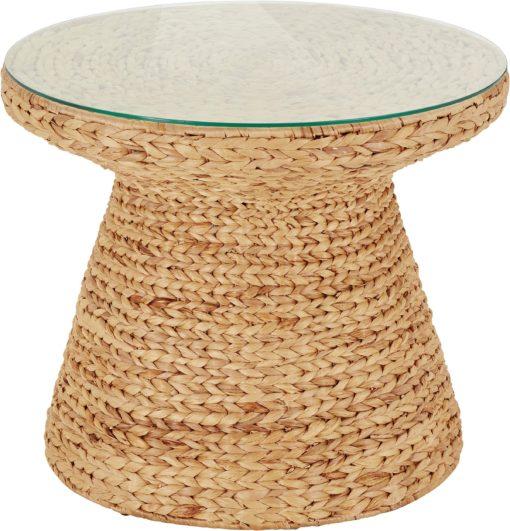 Stolik z plecionego hiacyntu wodnego ze szklanym blatem