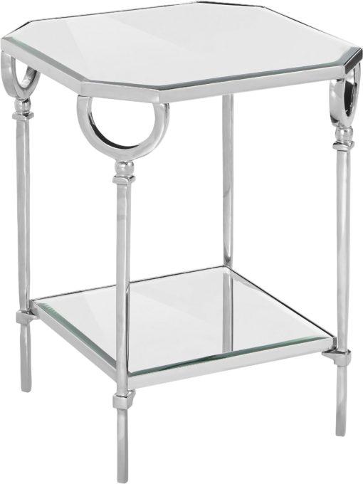 Dekoracyjny, srebrny stolik w stylu glamour