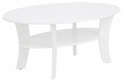 Sosnowy stolik kawowy z półką, biały