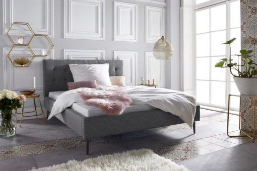 Szlachetne, tapicerowane łóżko, szare 140x200 cm