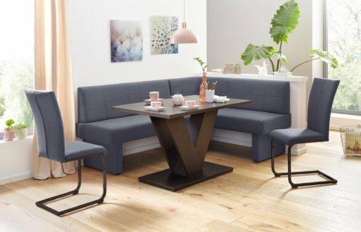 Ciemnoszare krzesła na czarnych płozach - 2 sztuki