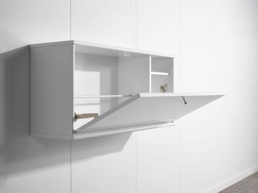 Biurko z klapą do zawieszenia na ścianie, duński design