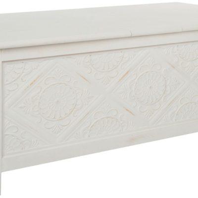 Biała ławka ze schowkiem, kunsztownie zaprojektowana