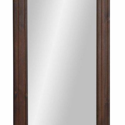 Duże lustro ścienne, bejcowana drewniana rama z sosny