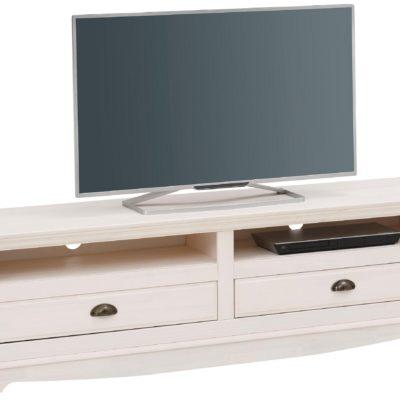 Sosnowa szafka RTV w rustykalnym stylu, biała
