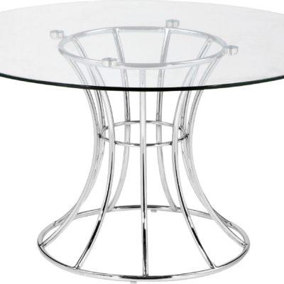 Stolik ze szklanym blatem i srebrną ramą Leonique Home Couture