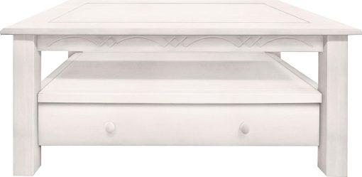 Sosnowy stolik kawowy z szufladą i półką, biały