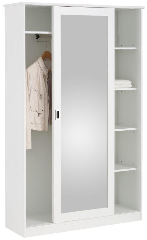 Biała szafa z lustrem w nowoczesnym stylu