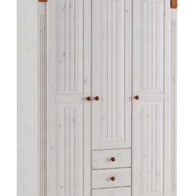 Sosnowa trzydrzwiowa szafa, bogato zdobiona