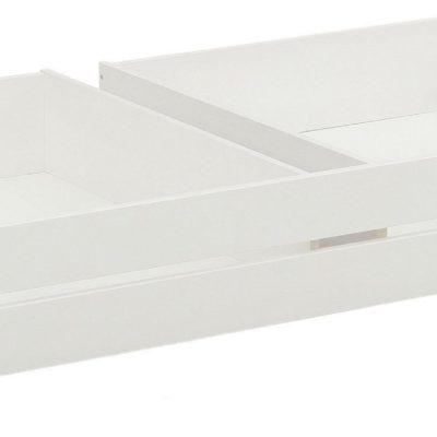 Sosnowa szuflada pod łóżko na kółkach, z białym frontem
