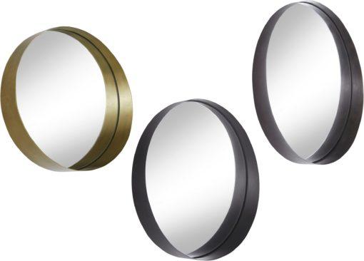 Zestaw 3 okrągłych luster ze złota i czarną ramą