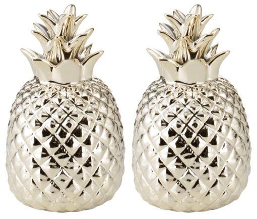 Zestaw 2 figurek dekoracyjnych - złote ananasy