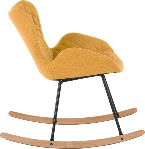 Fotel bujany w musztardowym kolorze, styl vintage