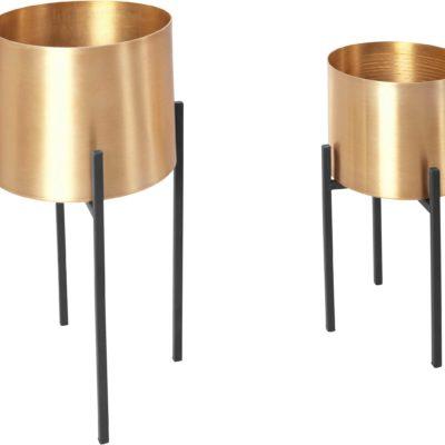 Nowoczesne doniczki złote, wykonane z metalu