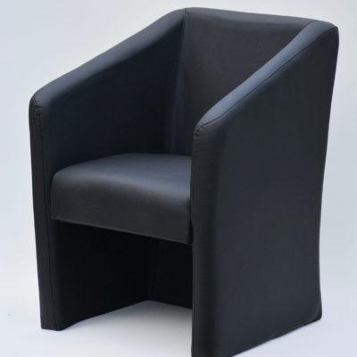 Fotel tapicerowany sztuczną skórą, czarny