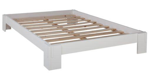 Łóżko futon 90x200 cm ze stelażem, białe
