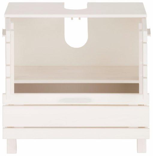 Stylowa szafka pod umywalkę z litej sosny, biała