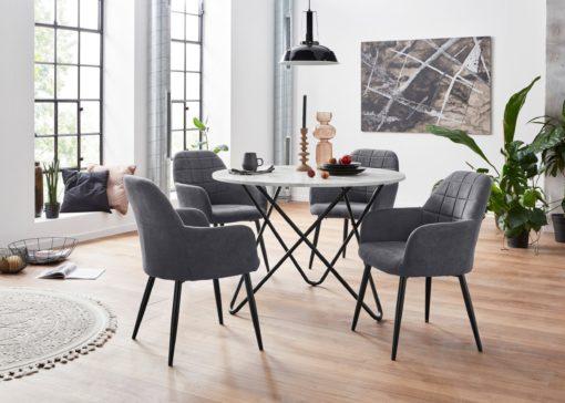 Antracytowe krzesła z podłokietnikami - 2 sztuki