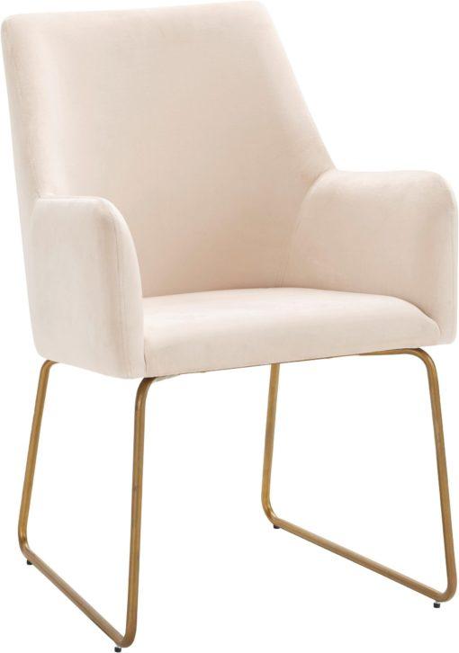 Kremowy fotel na metalowych nogach, w stylu retro