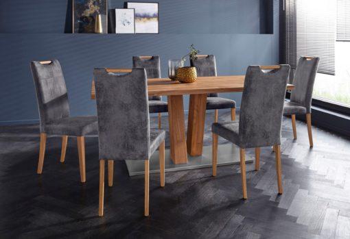 Wytrzymałe krzesła z dębowymi nogami, szare - 2 sztuki