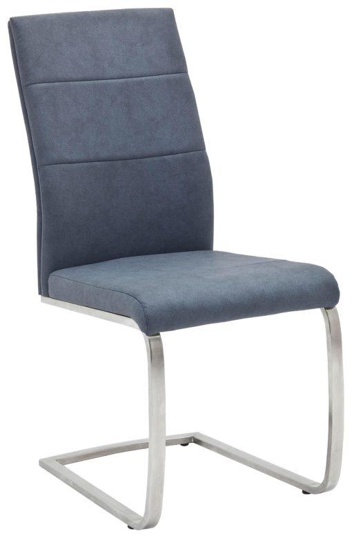 Szaro-niebieskie krzesła na płozach, sztuczna skóra - 2 sztuki