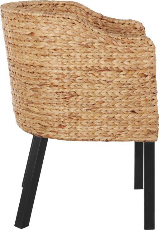 Rattanowy fotel z poduszką, na metalowych nogach