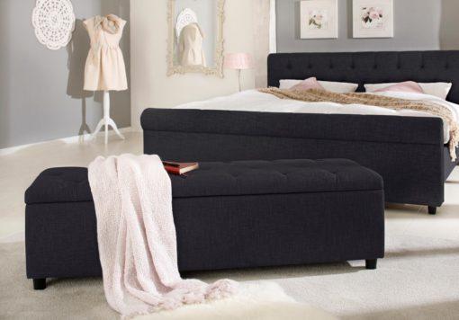 Tapicerowana ławka ze schowkiem i siedziskiem, czarna